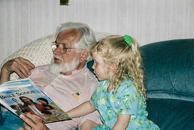 Jay and young Lindsay reading