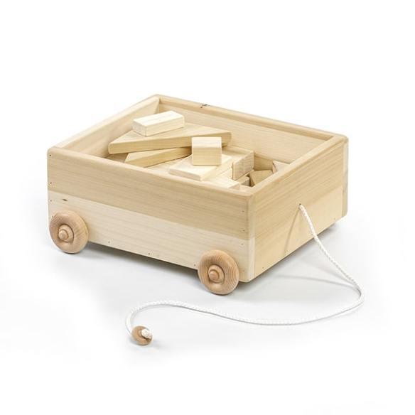 eli & mattie pull wagon with blocks