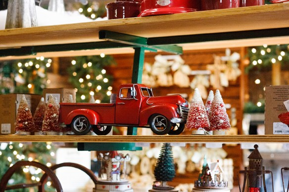 Christmas decorations in the store