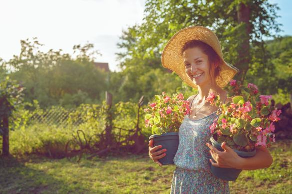 young farmer with flowers