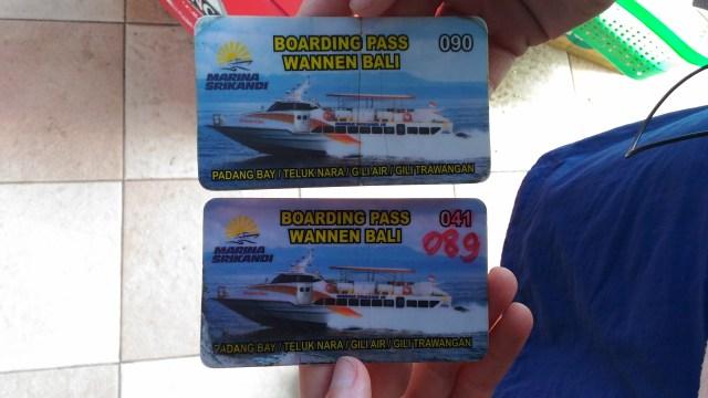 Tickets de notre fastboat