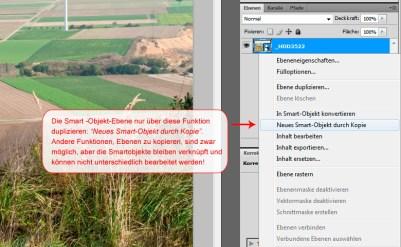 """""""Neues Smart Objekt durch Kopie"""" legt eine Ebene an, die separat in Camera Raw bearbeitet werden kann. Tutorial © Dietrich Hackenberg"""