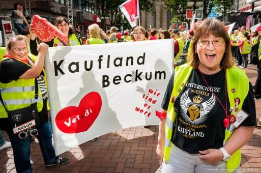 verdi Handel-NRW Streikveranstaltung Kaufland in Dortmund am 16.06.2017. Foto Dietrich Hackenberg