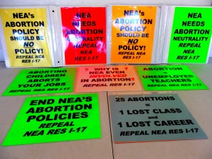 NEA Picket signs abortion prolife 23599638371629070_o
