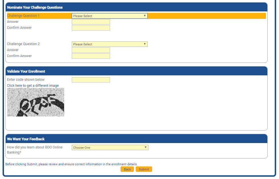 BDO submit online banking form