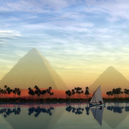 The Great Pyramids and Nile River