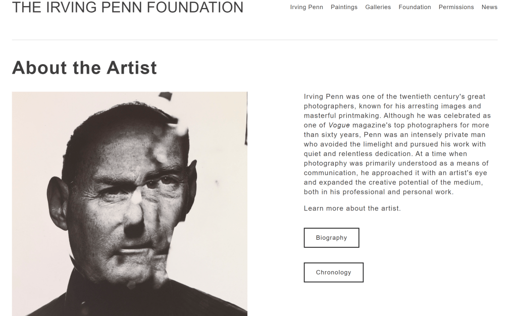 Screenshot of the Irving Penn Foundation's website.