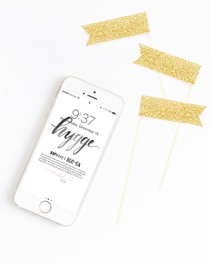 Free iphone wallpaper download for January 2017, hand lettered by Valerie McKeehan