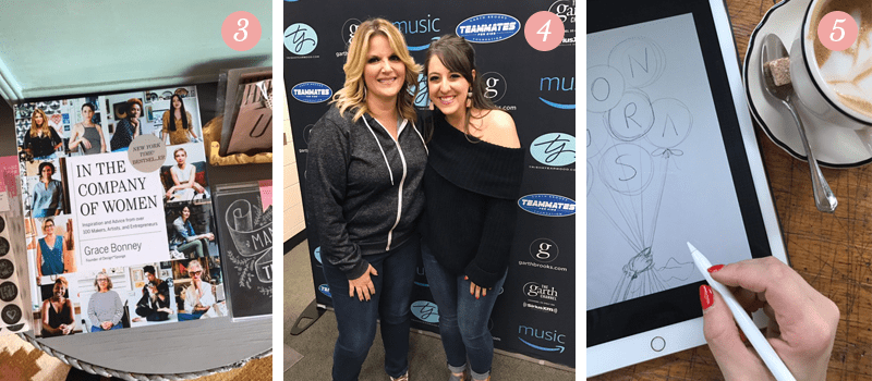 L&V Behind the Scenes blog shows off Grace Bonney Book In The Company Of Women, Trisha Yearwood and Garth Brooks, sketching on iPad at Ace Hotel Pittsburgh
