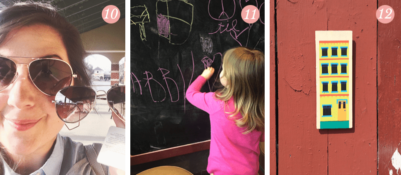 Lily and Val presents: Pretty Ordinary Friday #46 shows matching sunglasses, girl practicing her chalk lettering skills, artwork of colorful building