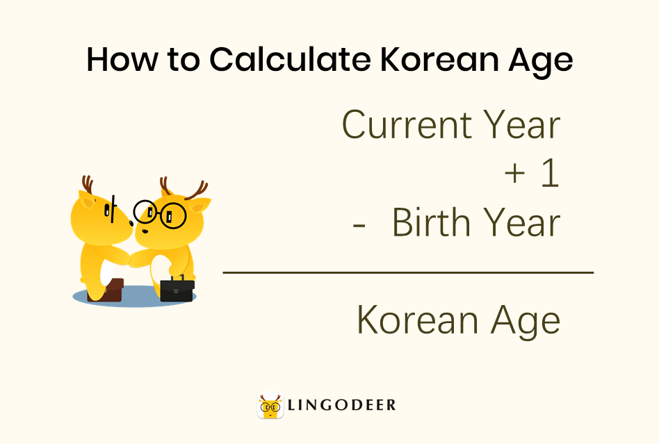 How to count in Korean: how to calculate Korean age: Korean age = current year +1 - birth year