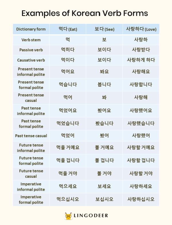 korean verbs: examples of korean verb forms