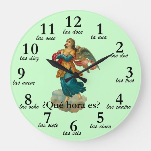 spanish definite and indefinite articles: clock wiht numbers in spanish