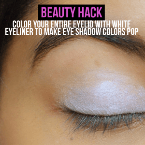 Color your entire eyelid with white eyeliner to make eye shadow colors pop
