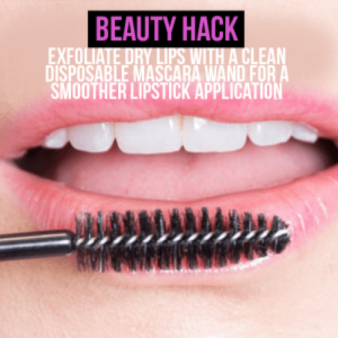 Exfoliate dry lips with a clean disposable mascara wand for a smoother lipstick application