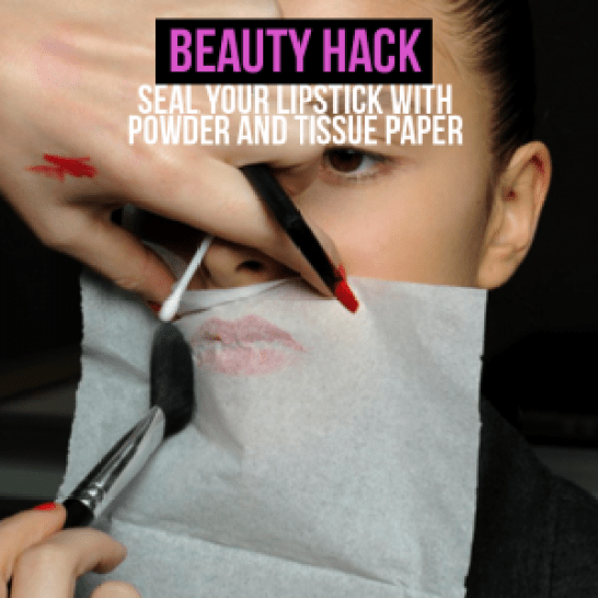 Seal your lipstick with powder and tissue paper