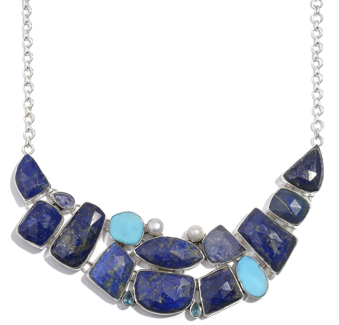 Fashion Week Roundup Jewelry - Artisan Crafted Lapis Lazuli, Multi Gemstone Sterling Silver Necklace