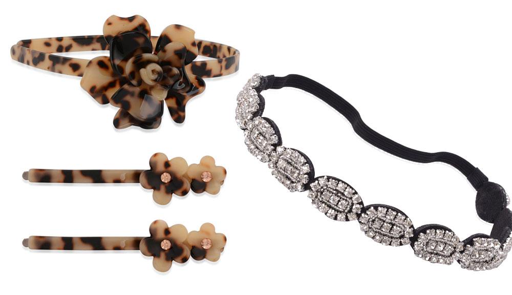 Fashion Week Roundup Jewelry - Tortoiseshell Headband and Barettes and Crystal Headband
