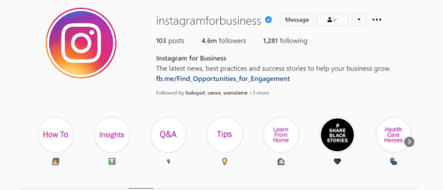 A screenshot taken from Instagram for business to hihlight the ustilities of this page for business purposes