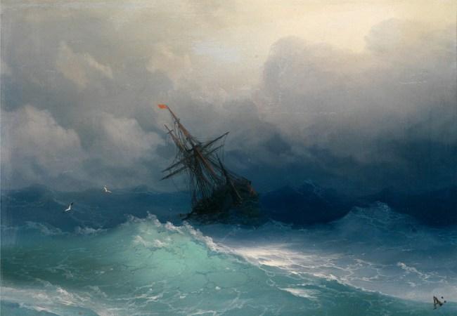 Корабль в бушующем море