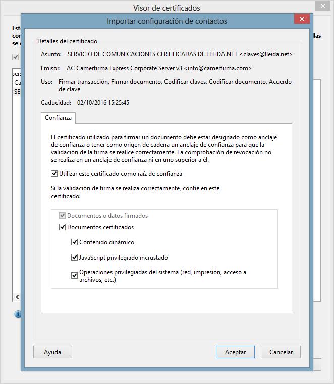 Importar configuración de contactos