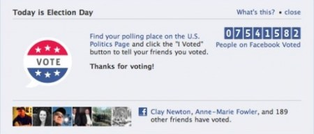 Social proof, on Facebook, that others, including your friends, voted.