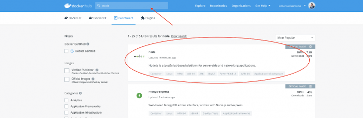 Screenshot Of The Docker Hub