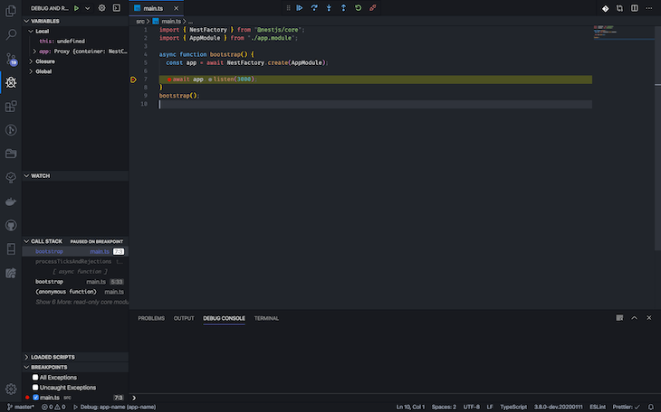 Debugger View In VS Code