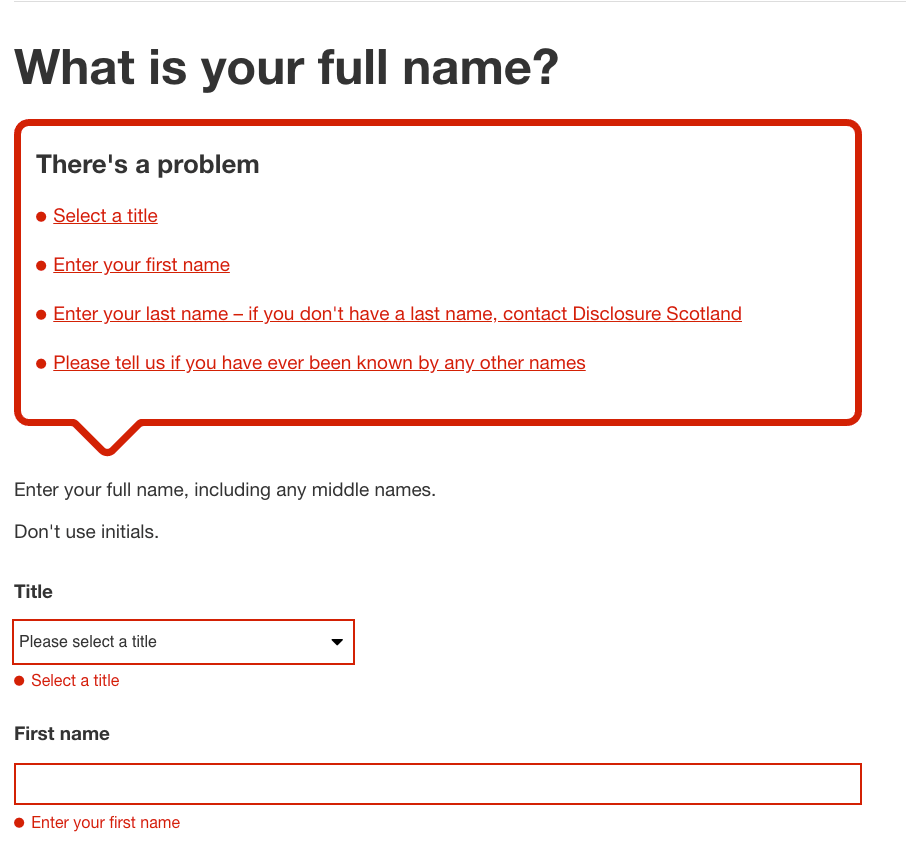 form with validation summary and inline fields