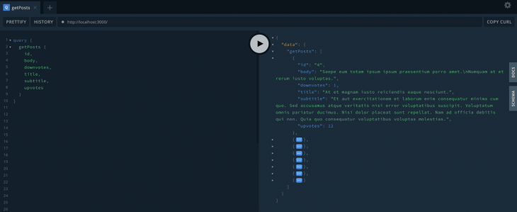 Running a getPosts Query in GraphQL