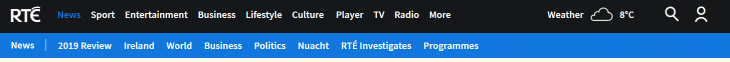 Navigation Bar on the RTE Website