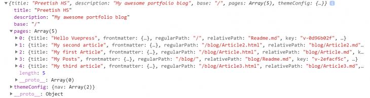 VuePress Site Data