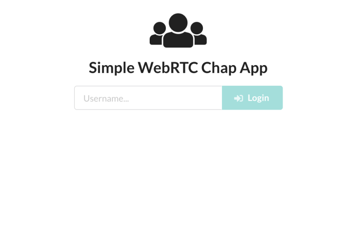 the login input screen for our simple WebRTC chat app