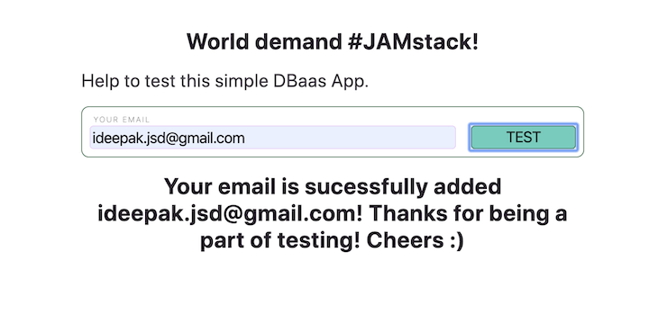 Successfully Submitted Email Form to Test DBaaS App