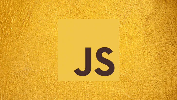 The JavaScript logo against a yellow background.