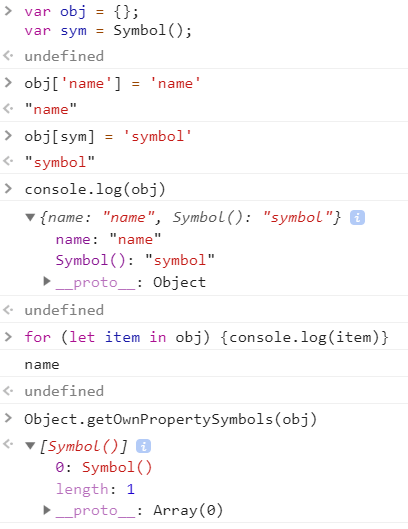 Array of Symbol Properties in an Object
