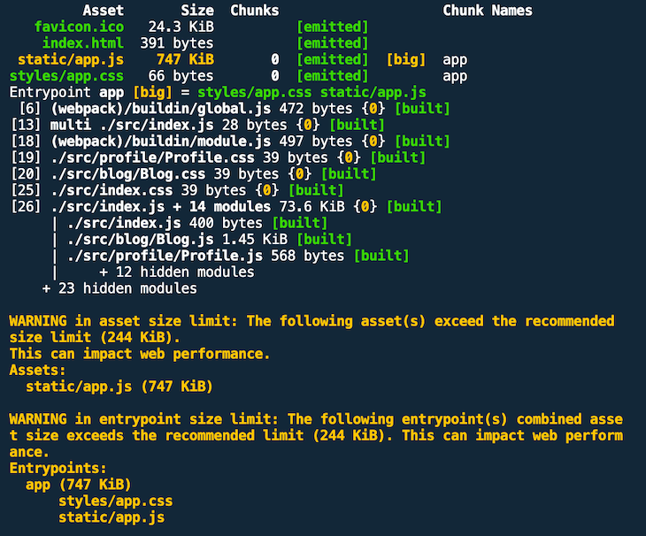 Production Build Output With Warnings