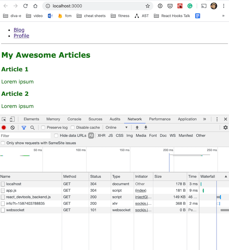 Examining The Development Build For The Homepage In DevTools