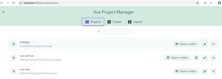 newapp Folder in Vue Project Manager