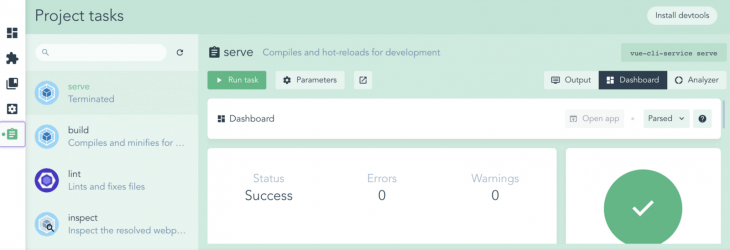 Project Tasks in Vue Project Manager