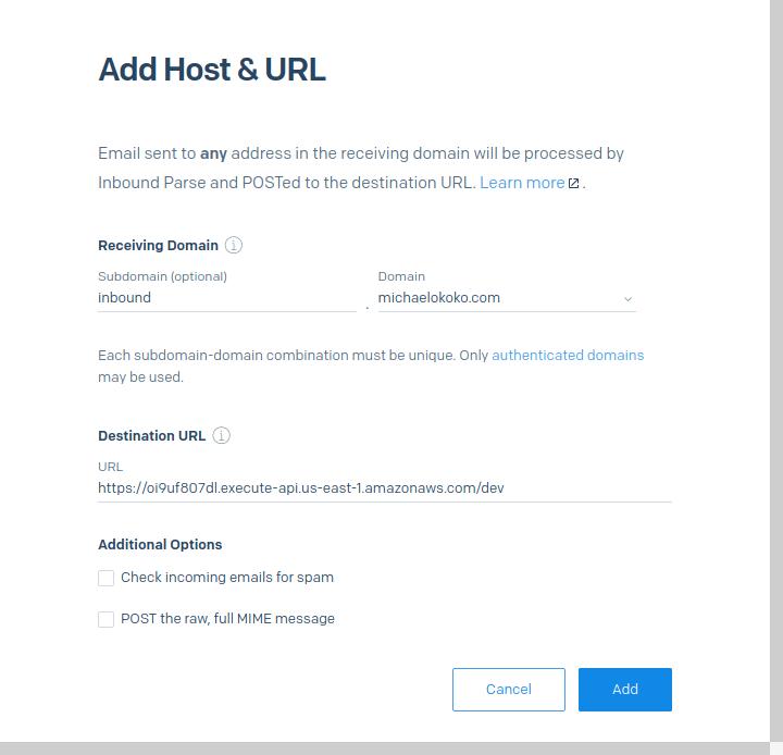 Inbound Parse webhook settings using the Lambda function URL