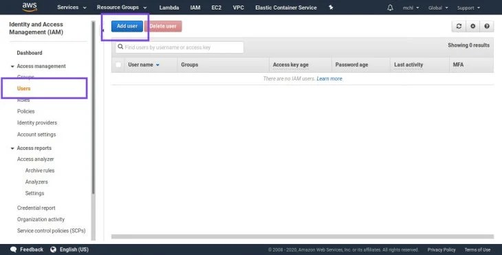 Screenshot of IAM users' home page
