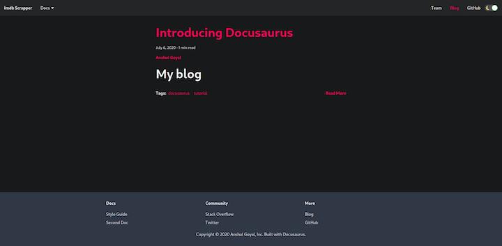 Docusaurus Blog Summary