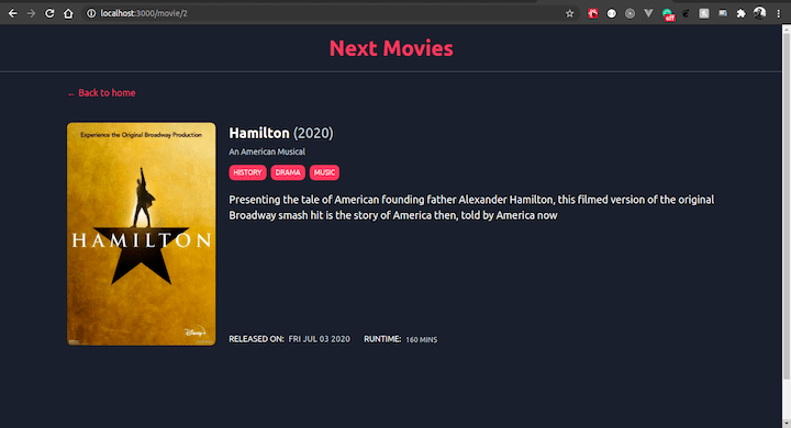 Single Movie Page