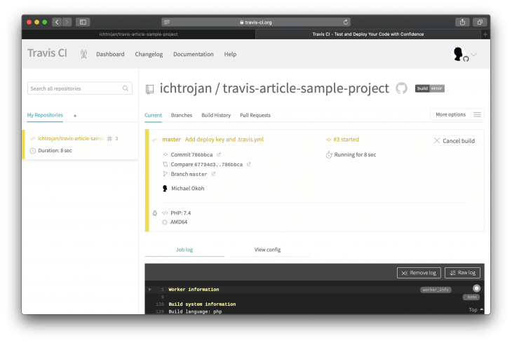 Travis CI dashboard with words Add deploy key and Travis.yml in yellow