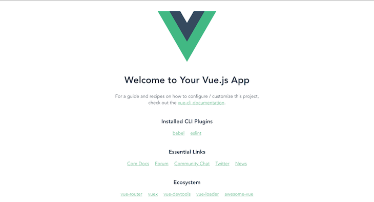 Our Default Vue App User Interface