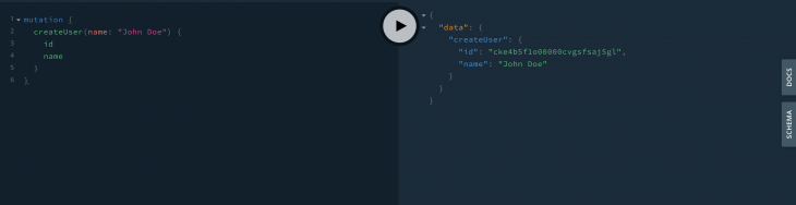 creating user in the graphql playground