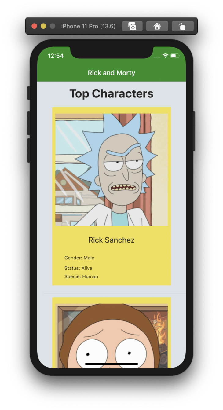 iphone emulator showing image of rick sanchez from rick and morty