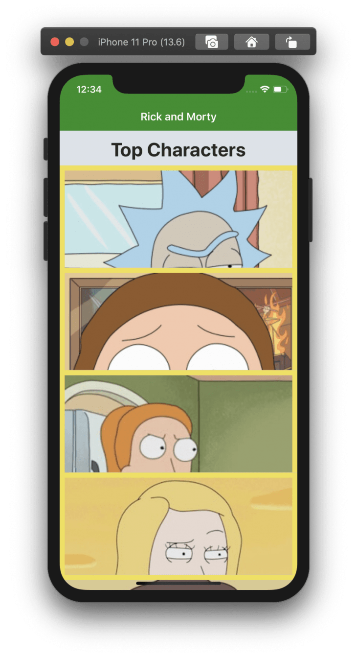 ui showing clips of images of characters from the show rick and morty in an emulator
