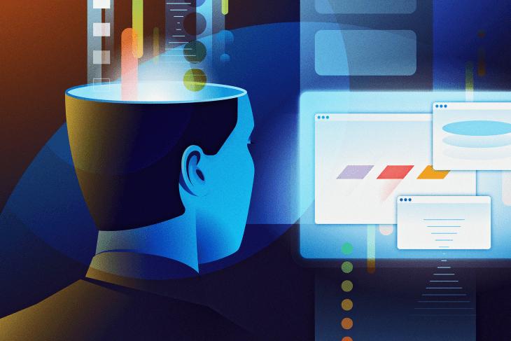 An illustration of a man staring at a computer.